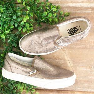 VANS Bronze Gold Metallic Slip On Sneaks Shoes 8.5